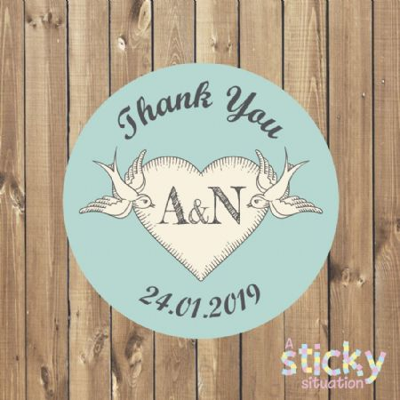 Personalised Wedding Stickers - Tattoo Design
